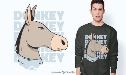Diseño de camiseta de cabeza de burro