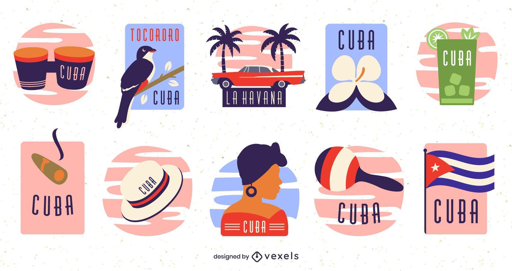 Cuba elements flat set