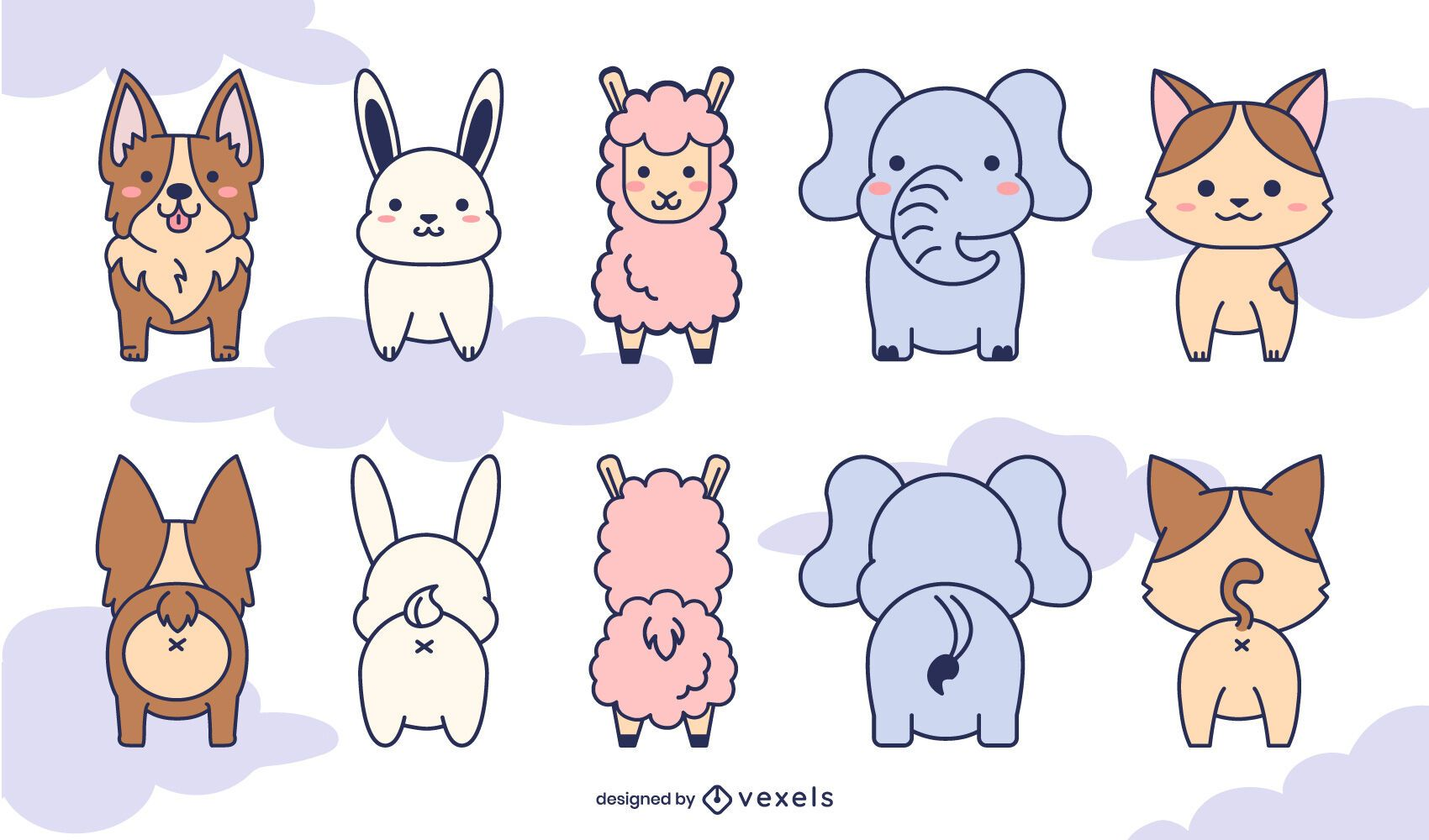 Front and back cute animals set