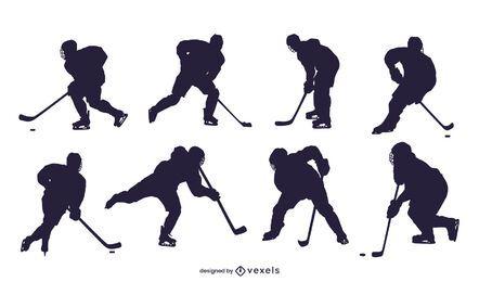 Conjunto de silhueta de jogador de hóquei no gelo