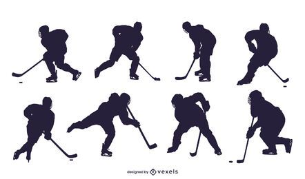 Ice hockey player silhouette set