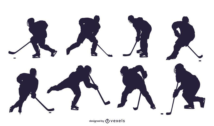 Ice hockey player silhouette set