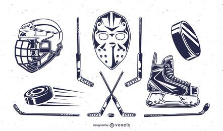 Ice hockey elements set