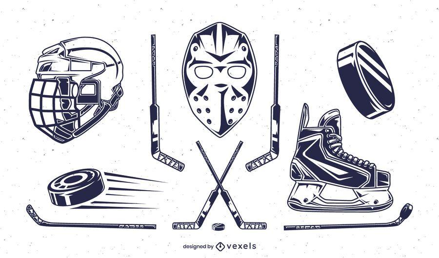 Ice hockey elements set
