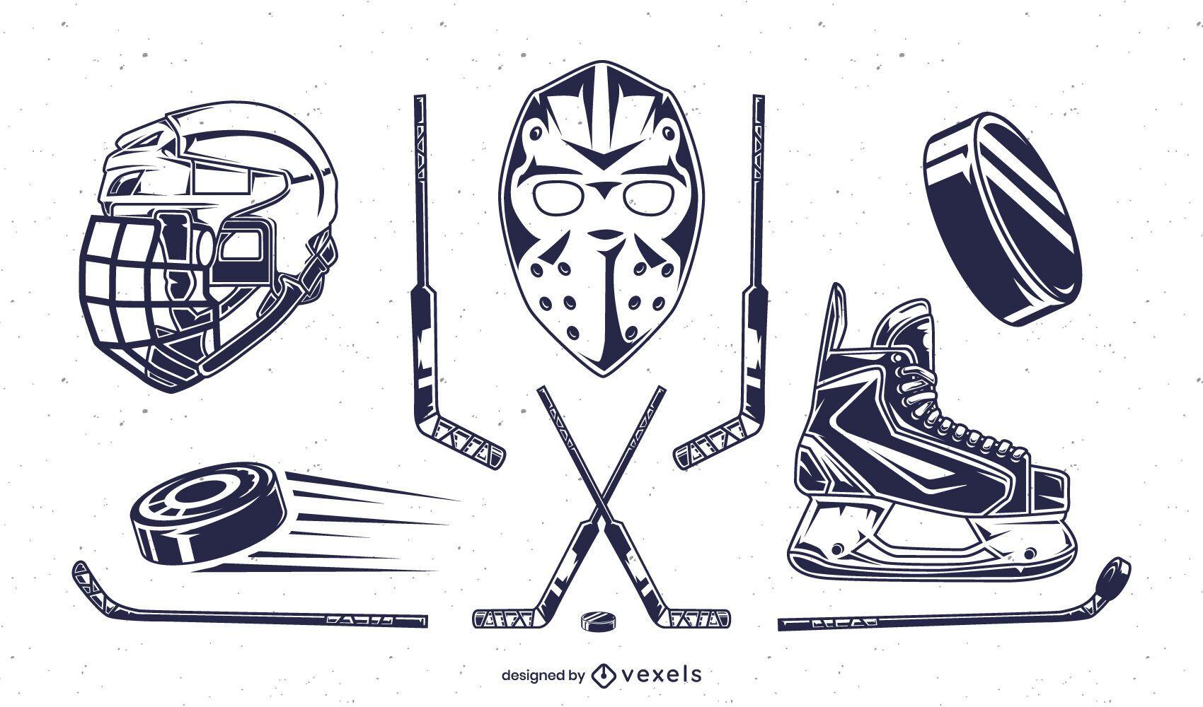 Conjunto de elementos de hockey sobre hielo