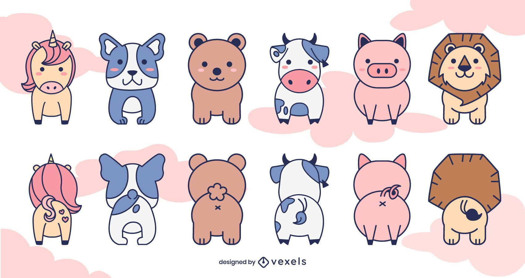 Cute front and back animals set