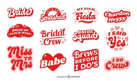Diseño de conjunto de letras de despedida de soltera