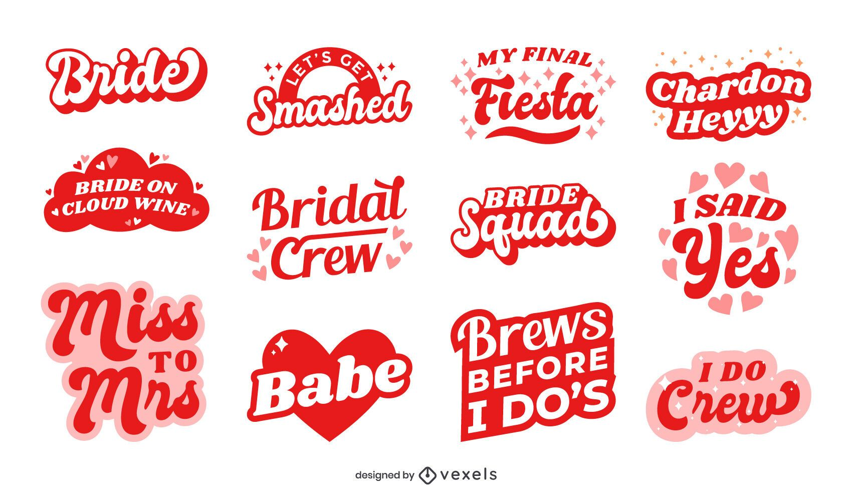 Bachelorette party lettering set design
