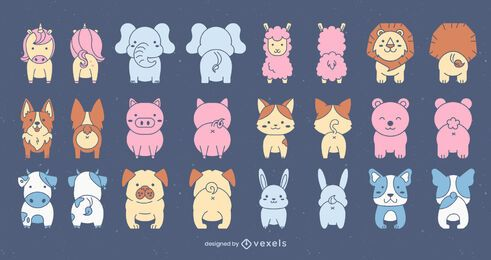 Front and back cute animal set