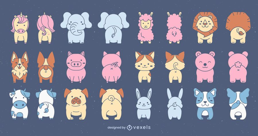 Conjunto de animais fofos na frente e atrás