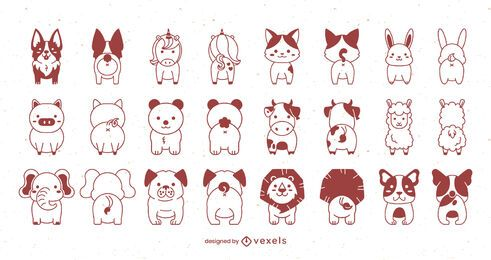 Front and back cute animal stroke set