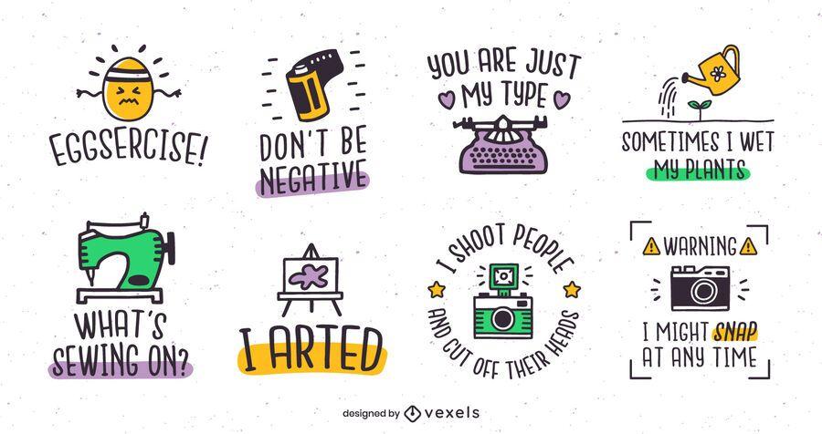 Hobby puns badge set