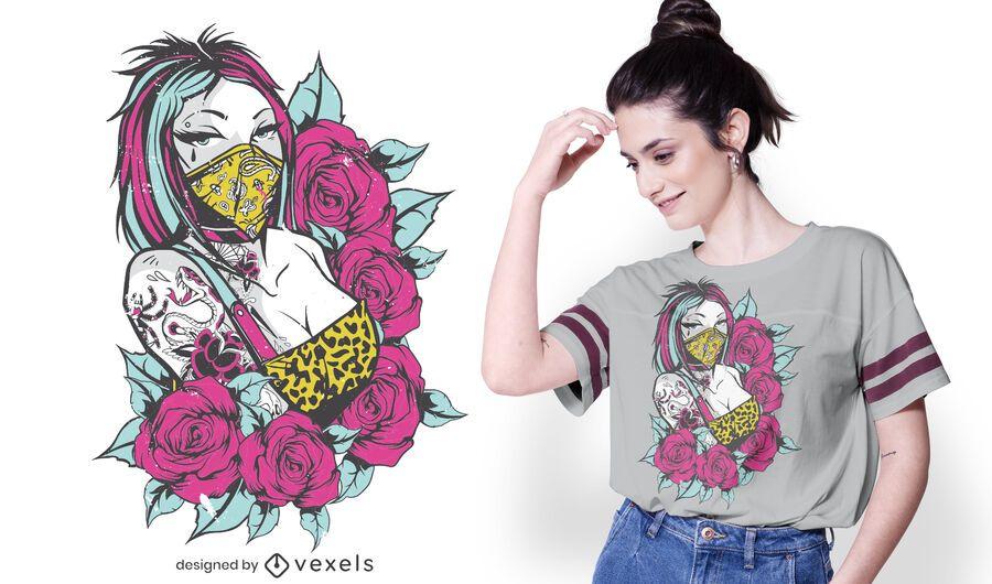 Tattoo girl roses t-shirt design
