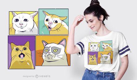 Diseño de camiseta de gatos meme