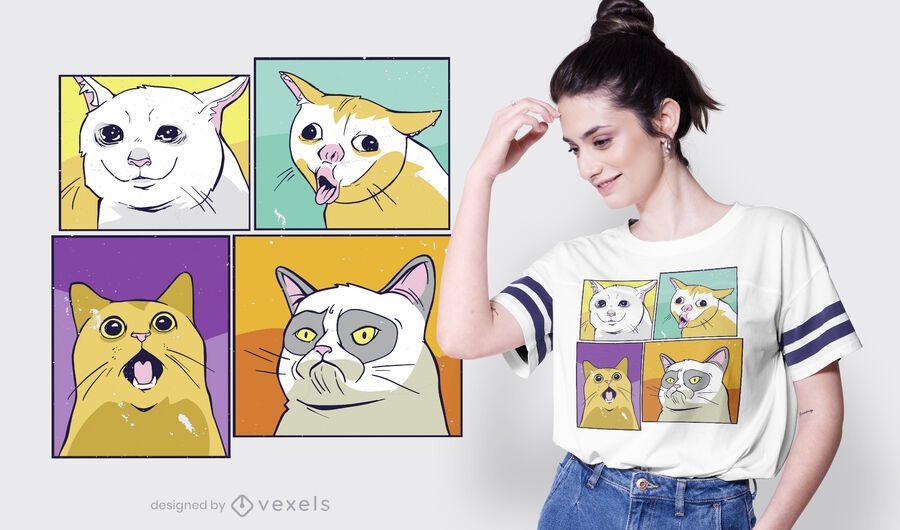 Design de camisetas de gatos meme