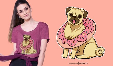 Pug with donut t-shirt design
