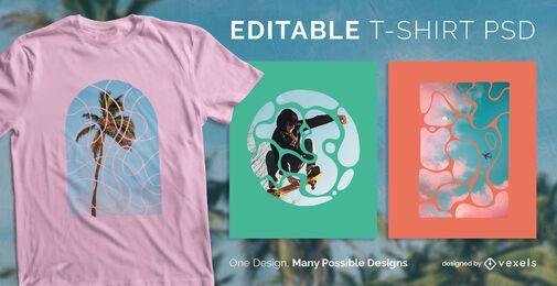 Diseño de camiseta de curvas abstractas psd