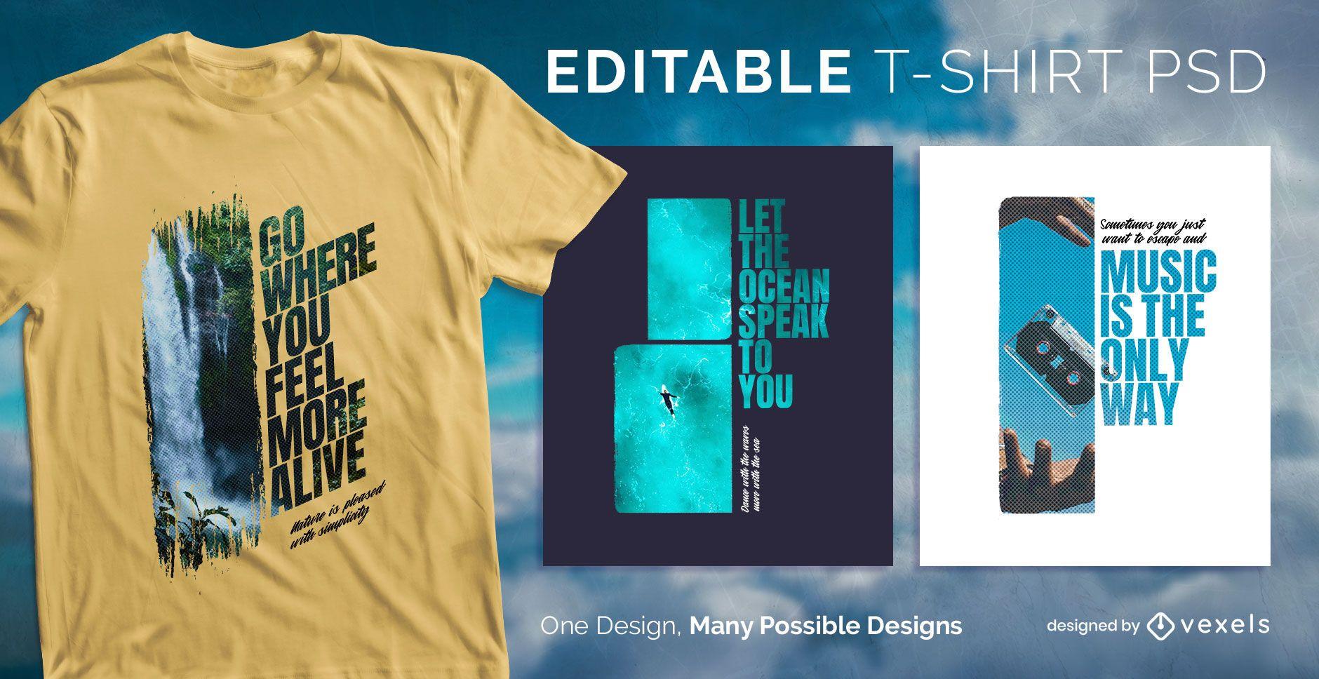Text mask t-shirt design psd