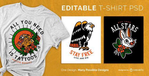 Diseño de camiseta de tatuaje psd