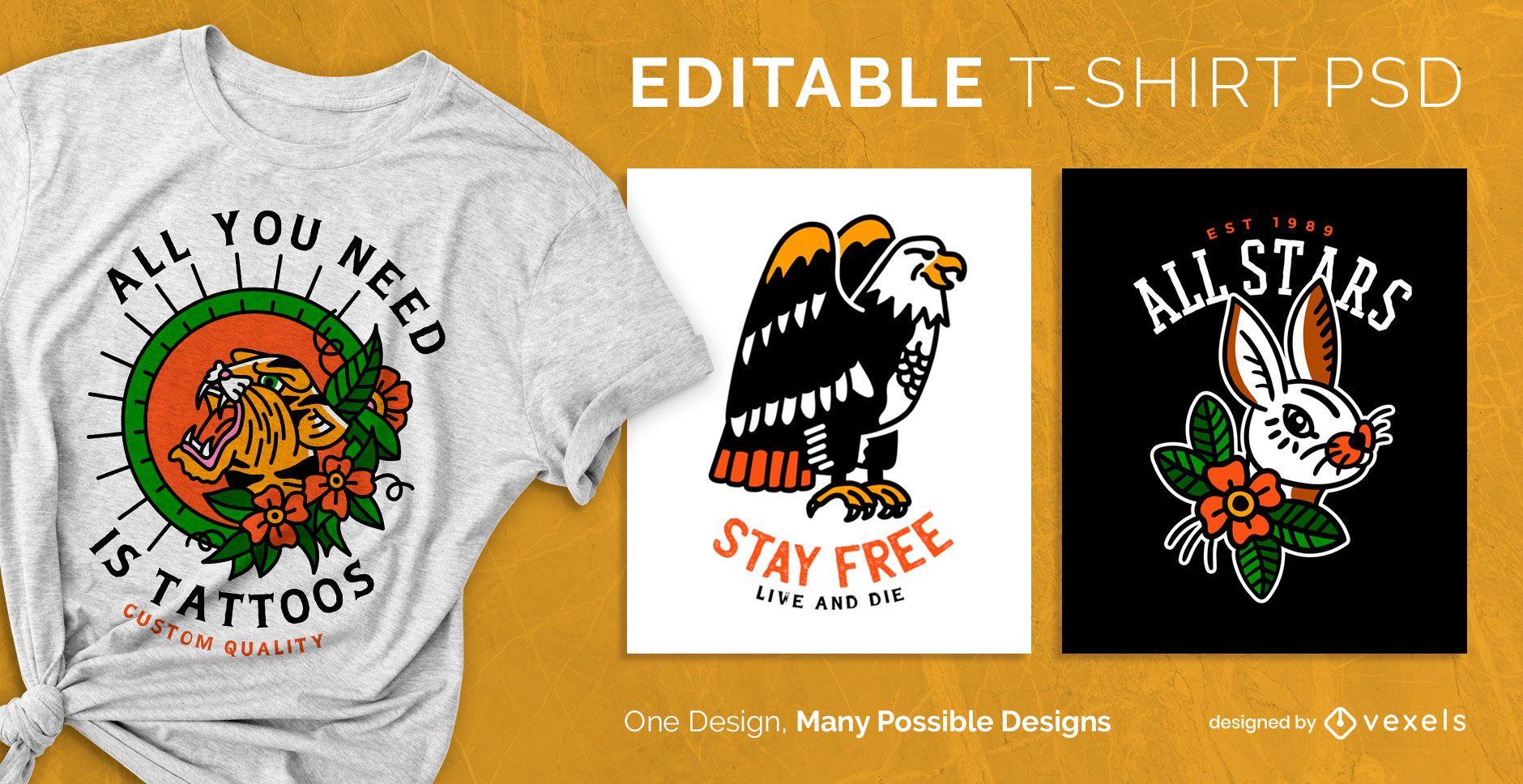 T-shirt com desenho psd