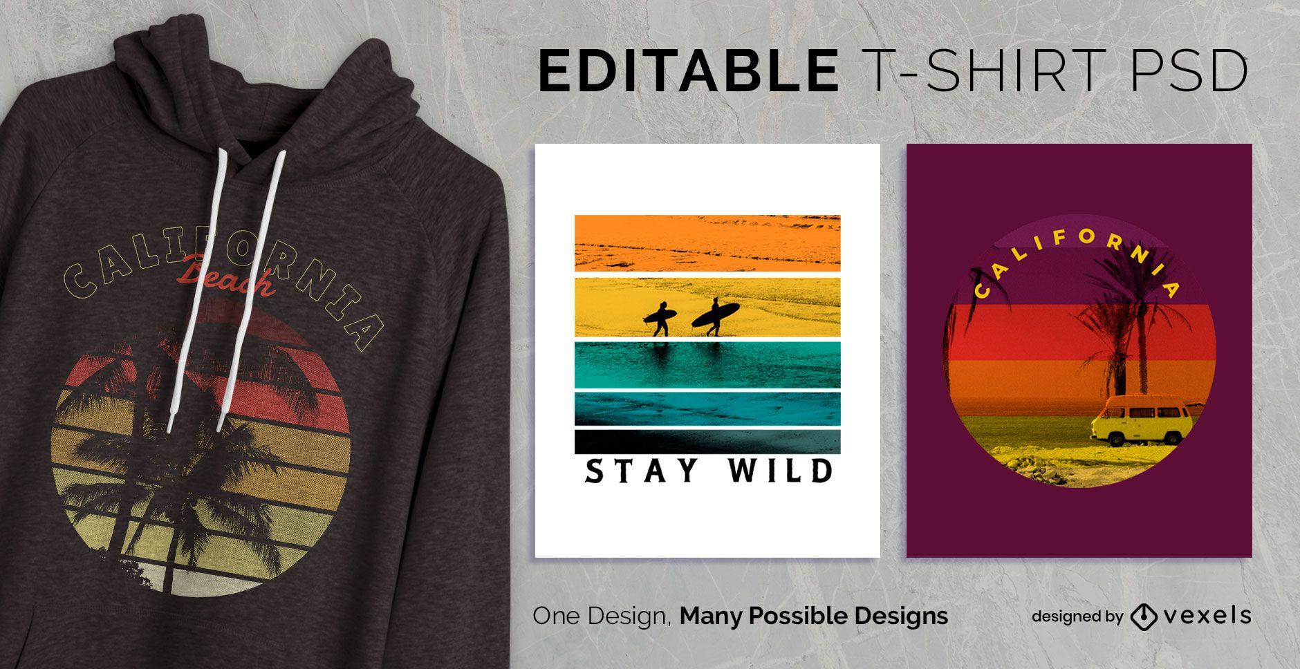 Diseño de camiseta vintage sunset psd