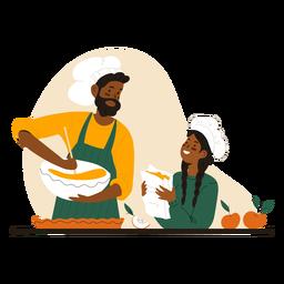 Homem negro e mulher cozinhando personagem