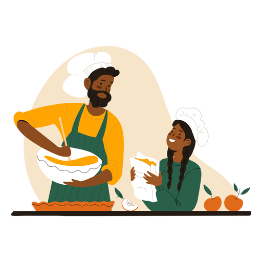 Black man and woman cooking character Transparent PNG