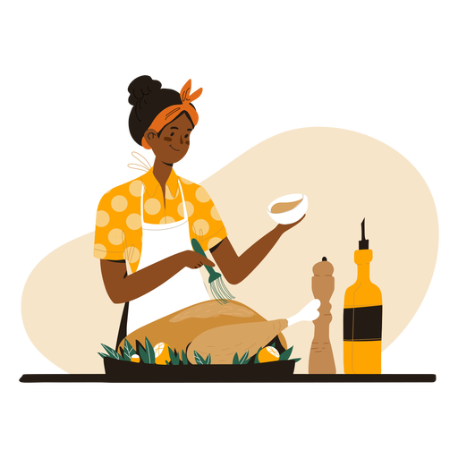 Black woman cooking character