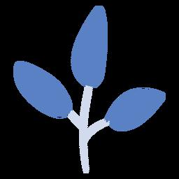 Rama de planta azul plana