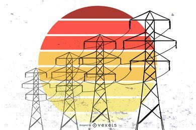 Vector gratis de torre electrica retro