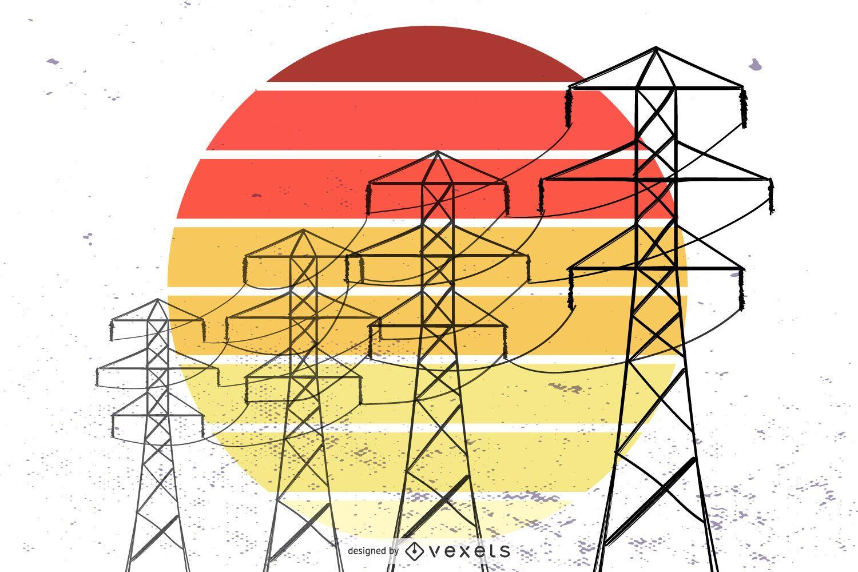 Torre eléctrica retro vector gratuito