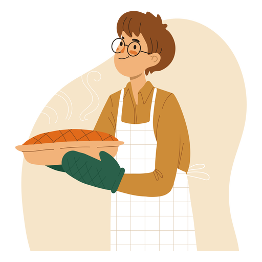 Cook holding a pie character