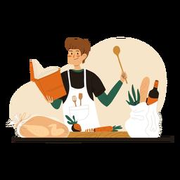 Cocinero leyendo personaje de libro de recetas