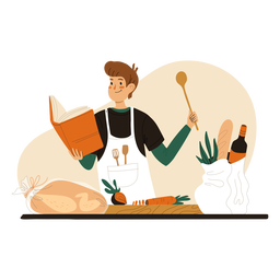 Cook reading recipe book character