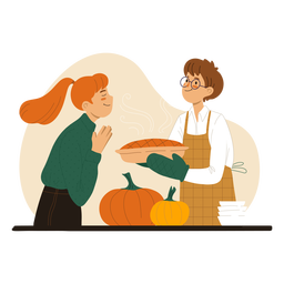 Couple cooking a pie characters