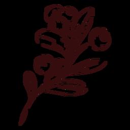 Cranberries branch hand drawn