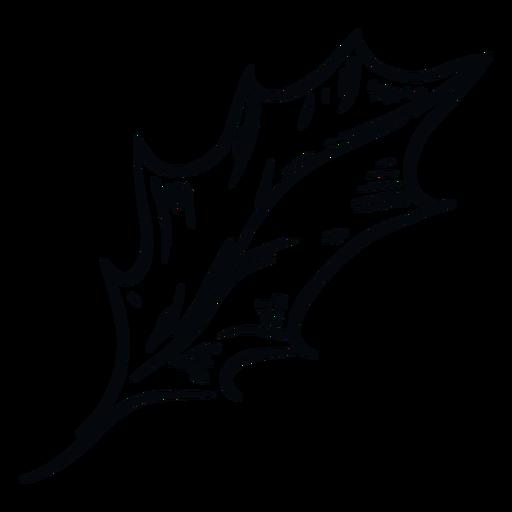 Detailed leaf black and white illustration