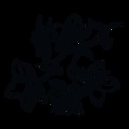 Flores rama ilustración en blanco y negro