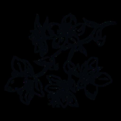 Flowers branch black and white illustration