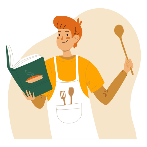 Ginger man cooking character