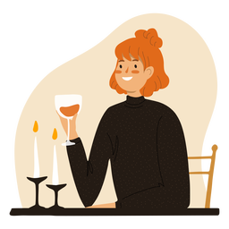 Ginger with wine glass character