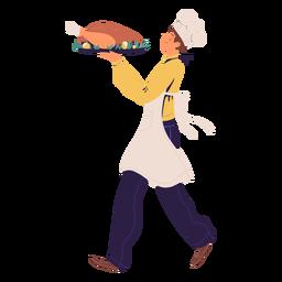 Chef hombre con carácter de pavo