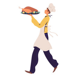Man chef with turkey character