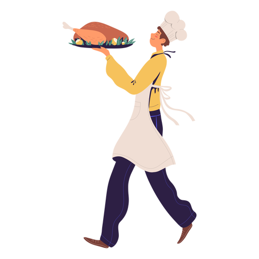 Man chef with turkey character Transparent PNG