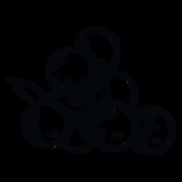 Mistletoe berries black and white illustration