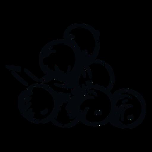 Ilustración en blanco y negro de bayas de muérdago