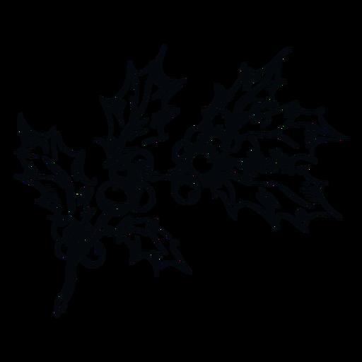 Ilustración en blanco y negro de rama de muérdago