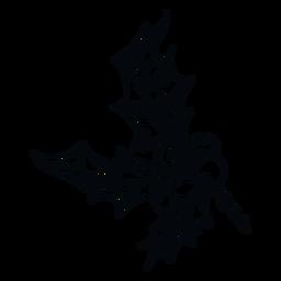 Muérdago deja ilustración en blanco y negro
