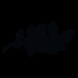 Planta de muérdago blanco y negro ilustración