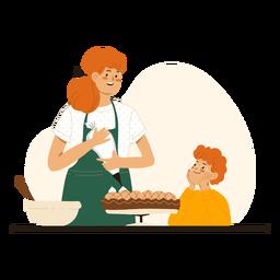 Madre e hijo cocinando personajes.